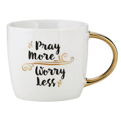 Gold Handle Mug - Pray More, Worry Less