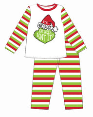 ADULT IT'S BECAUSE I'M GREEN MULTI STRIPE CHRISTMAS JAMMIE SET