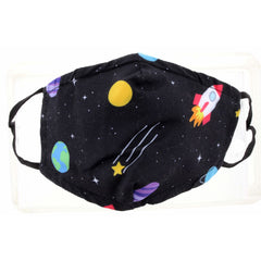 KIDS OUTER SPACE FACE MASK, ADJUSTABLE ELASTIC EAR STRAPS