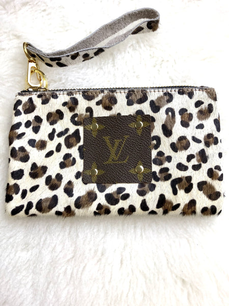Louis Vuitton Repurposed  White Leopard  Wristlet