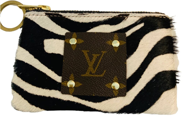 Louis Vuitton Repurposed Zebra Coin Purse & Key Ring