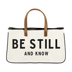 Large Canvas Tote - Be Still And Know