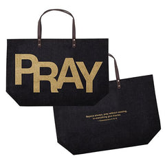 PRAY / 1 Thessalonians 5:16-18 Jute Tote Bag