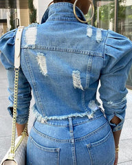 Puffed Sleeve Frayed Denim Jacket
