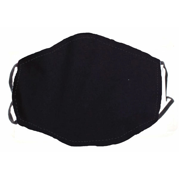 SOLID BLACK FACE MASK, ADJUSTABLE ELASTIC EAR STRAPS