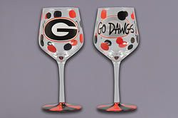 Game Day- UGA Wine Glass