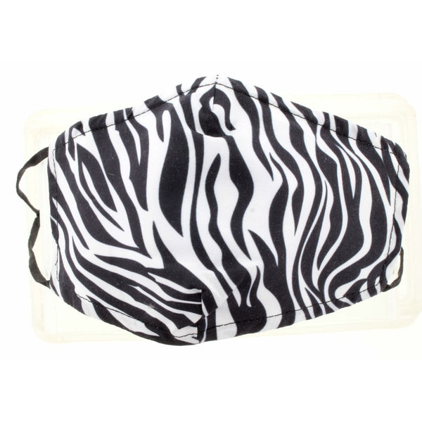 ZEBRA PRINT FACE MASK, ADJUSTABLE ELASTIC EAR STRAPS