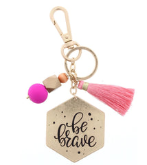 "TWO SIDED KEYCHAIN- DOT & STRIPE PATTERN/ ""BE BRAVE"" WITH BEADS & TASSEL ACCENT KEYCHAIN"