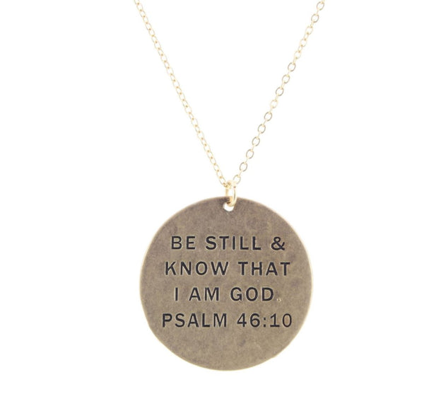 """BE STILL & KNOW"" GOLD  NECKLACE"