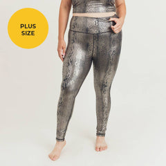 PLUS Copperhead Snake Shimmer Foil Print Highwaist Leggings