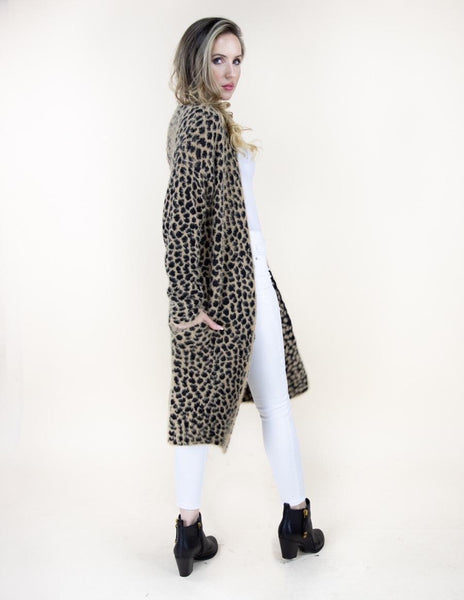 Cheetah Print Long Sleeve Cardigan- Camel