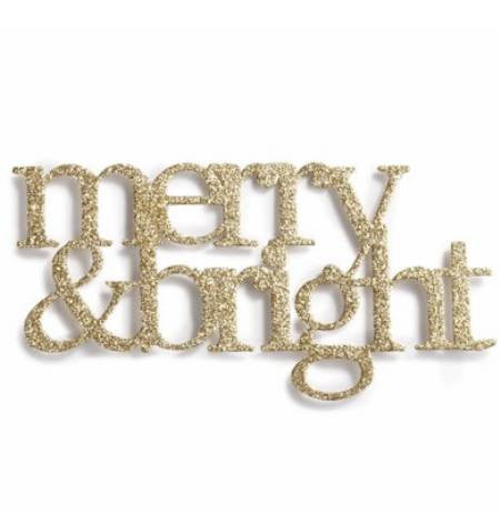 """Merry & Bright"" Gold Metallic Embellishment"