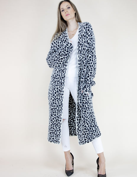 Cheetah Print Long Sleeve Cardigan - White
