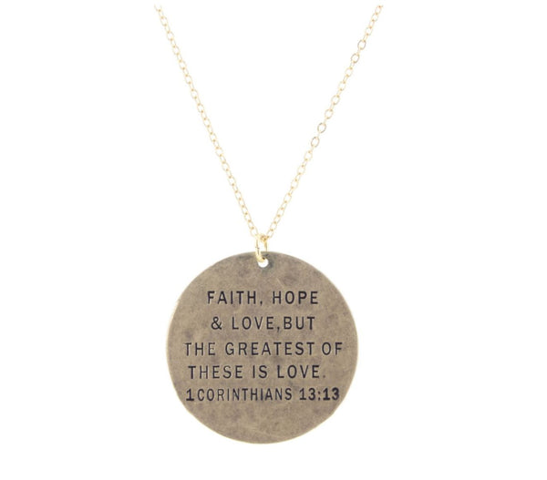 """ FAITH, HOPE & LOVE"" Gold Necklace"