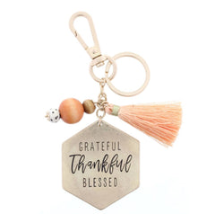 "TWO SIDED KEYCHAIN - DOT & STRIPE PATTERN/ ""GRATEFUL THANKFUL BLESSED"" WITH BEADS & TASSEL ACCENT KEYCHAIN"