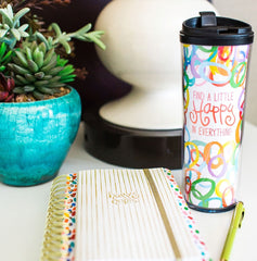 Coton Colors Happy Everything 16 oz Travel Mug Circles