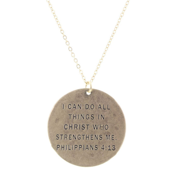 """I CAN DO ALL THINGS IN CHRIST"" GOLD NECKLACE"