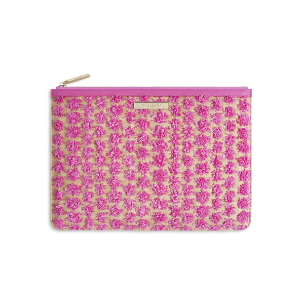 POLLY POM POM CLUTCH BAG | PINK