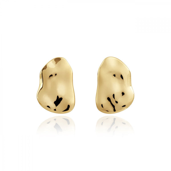STATEMENT STUDS HAMMERED GOLD EARRINGS