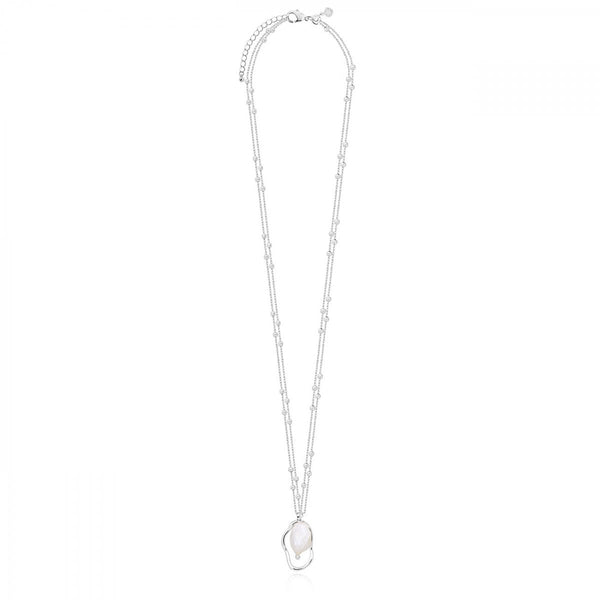 ISLA SILVER PEARL LONG DOUBLE CHAIN NECKLACE