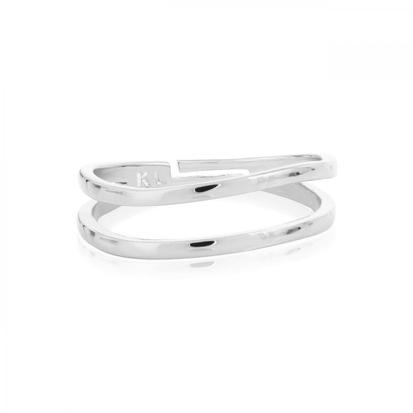 ISLA SILVER PEARL DOUBLE BAND RING