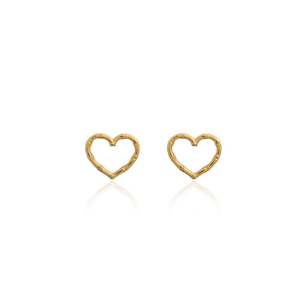 RADIANT BAMBOO | GOLD | HEART STUD EARRINGS