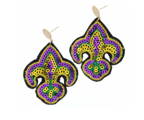 GOLD CIRCLE WITH SEQUIN SEWN MARDI GRAS FLEUR DE LIS EARRING