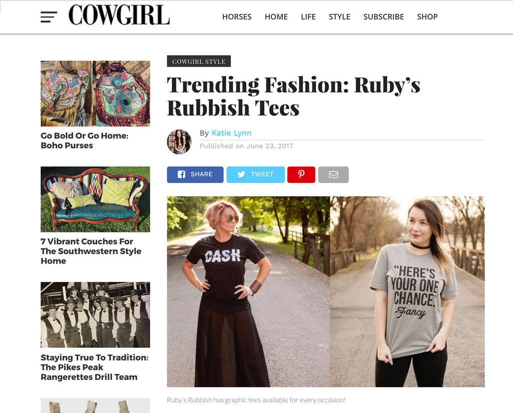 Ruby's Rubbish Featured in Cowgirl Magazine!