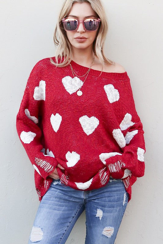 Heart | Distressed Sweater | Rubies & Lace