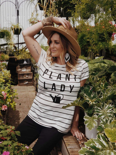 Plant Lady | Women's Striped T-Shirt | Ruby's Rubbish®