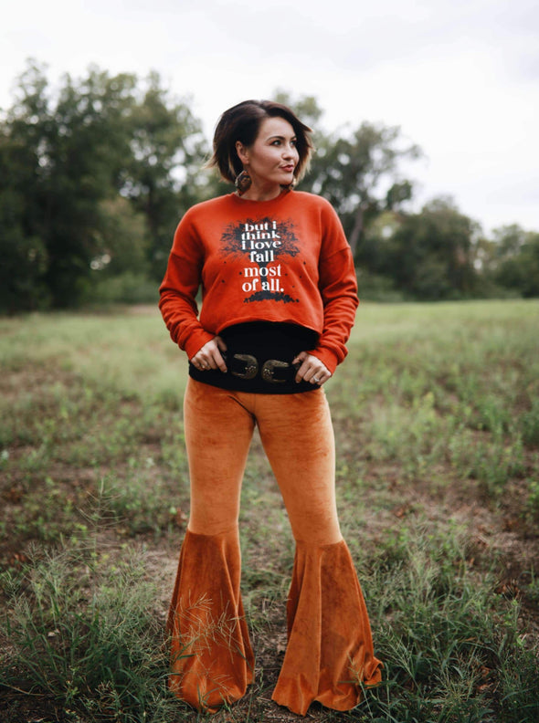 But I Think I Love Fall Most of All | Seasonal Women's Crop Sweatshirt | Ruby's Rubbish®