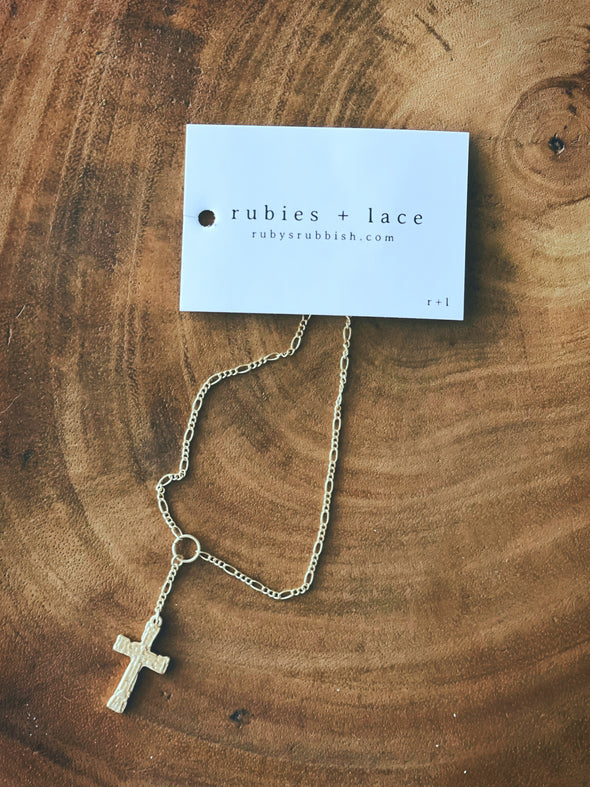 Textured Cross |  Gold Charm Necklace | Rubies & Lace