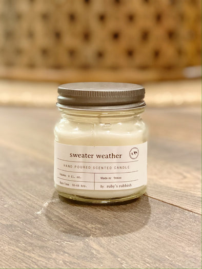 Sweater Weather | Mason Jar Hand Poured Candle | Ruby's Rubbish®