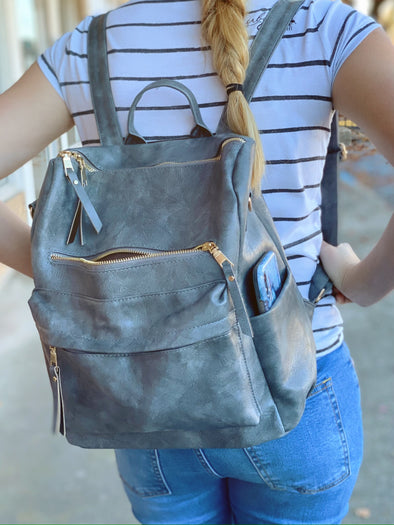 Grey Leather Style Backpack | Rubies & Lace