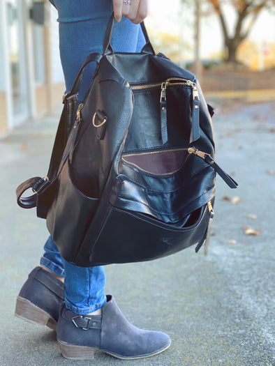 Black Leather Style Backpack | Rubies & Lace