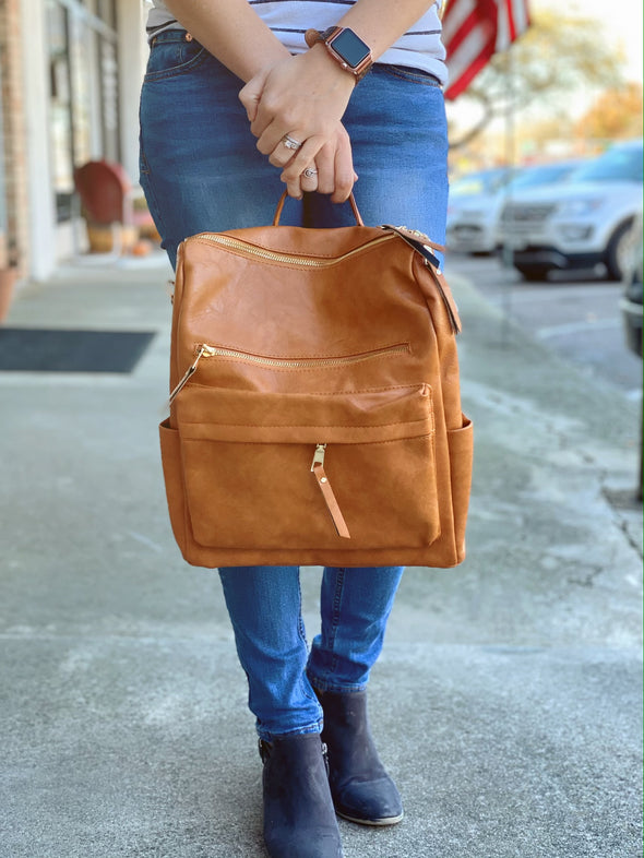Camel Leather Style Backpack | Rubies & Lace