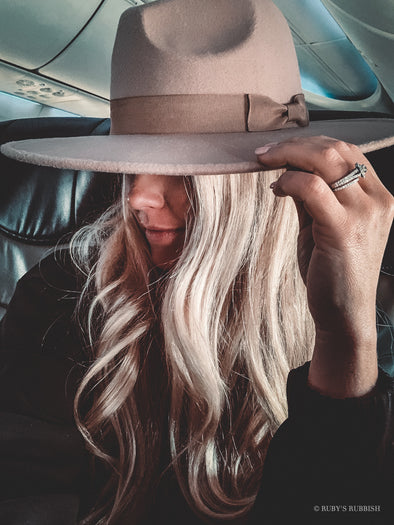 Wide Brim Light Taupe | Fashion Hat | Ruby's Rubbish®
