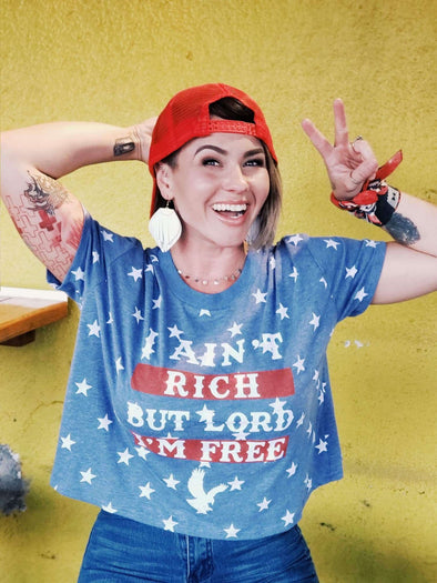I Ain't Rich but Lord I'm Free | Women's Star Crop Top | Ruby's Rubbish®