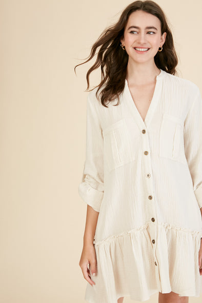 Ivory Ruffle | Button Down Tunic | Rubies & Lace