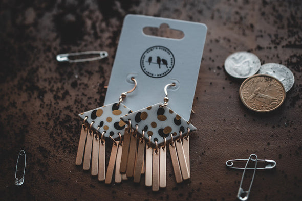 Seeing Spots | Metal Fringe Dangle Earrings | Rubies + Lace