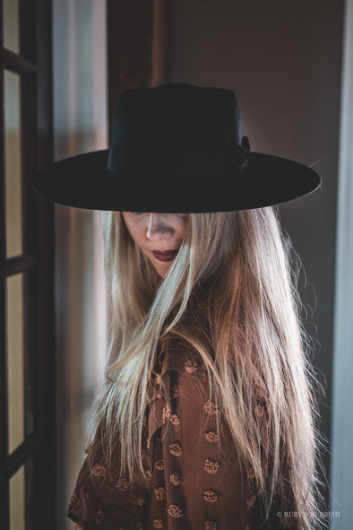 Black Boater | Wide Brim Fashion Hat | Ruby's Rubbish®