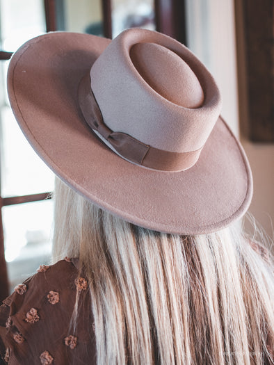 Light Taupe Boater | Wide Brim Fashion Hat | Ruby's Rubbish®