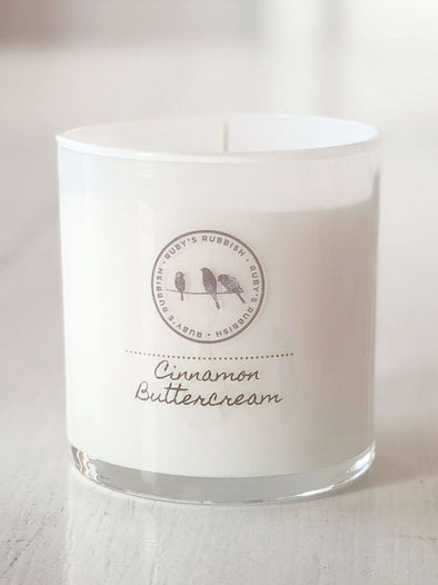 Cinnamon Buttercream | White Glass Hand Poured Candle | Ruby's Rubbish®
