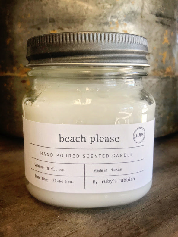 Beach Please  | Mason Jar Hand Poured Candle | Ruby's Rubbish®
