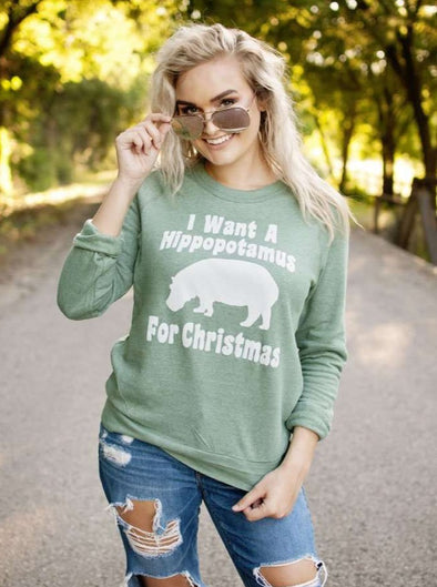 I Want a Hippopotamus for Christmas | Seasonal Sweatshirt | Ruby's Rubbish®