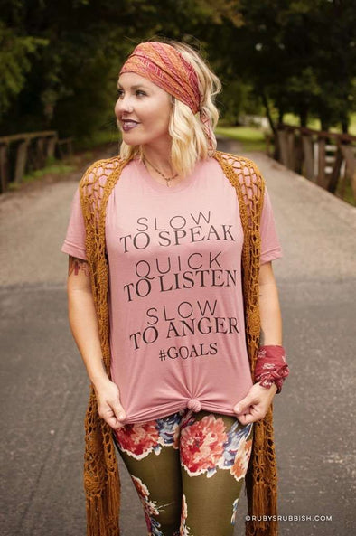 Slow to Speak, Quick to Listen | Christian $18 T-Shirt | Ruby's Rubbish® | CS
