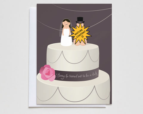 """Sorry He Turned Out to Be a Dick"" Divorce Card #001"
