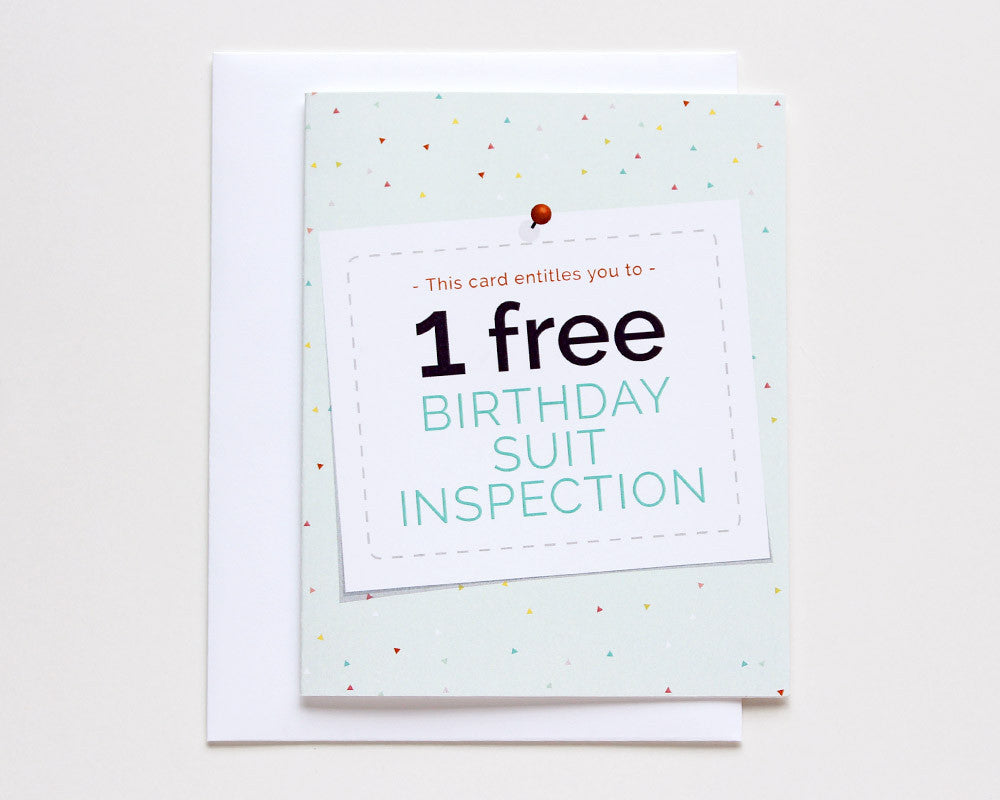 Free Birthday Suit Inspection Card #009
