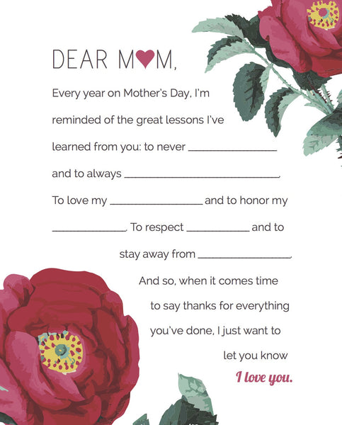 """Fill-in-the-Blank"" Mother's Day 8 x 10 Art Print"