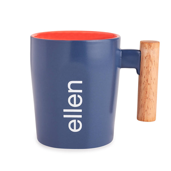 Ellen Show Wooden Handle Mug - Blue